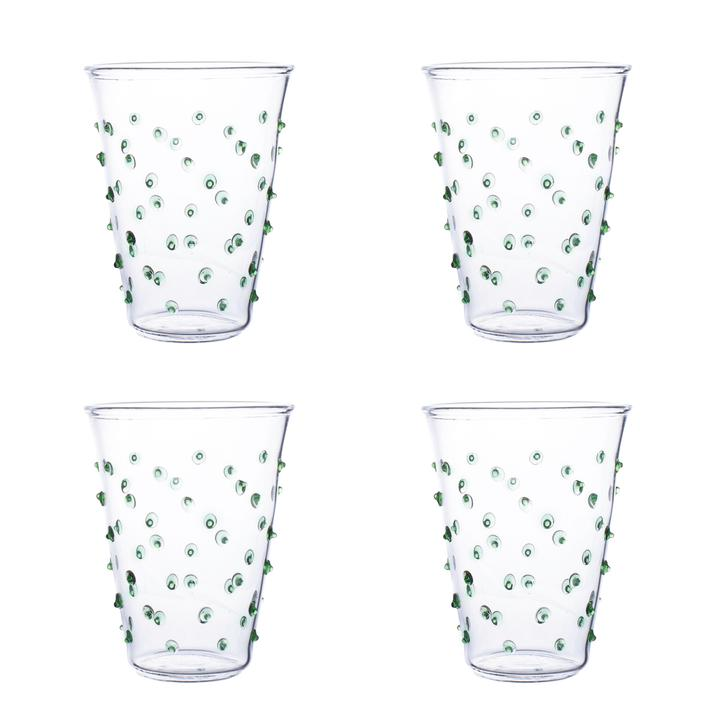 Green Pom Water Glass – Set of Four